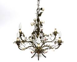 image of antique brass chandelier with enamel flowers