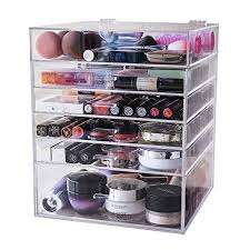 fo acrylic cosmetic organiser clear makeup storage with 5 drawers