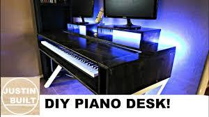 home studio desk with piano shelf