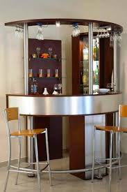 Curved Mini Bar For Corner Space And Hanging Glass Rack Also