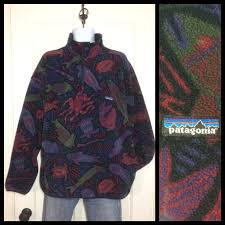 Patagonia Patterned Fleece Impressive Vintage Patagonia Synchilla Snap Fleece Pullover Jacket Size XL