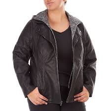 plus size faux leather moto jacket with detachable hooded bib