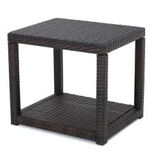 noble house kailee multi brown rectangular wicker outdoor accent table