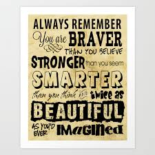Personal Affirmation You Are Brave Strong Smart And Beautiful Positive Sayings Art Print