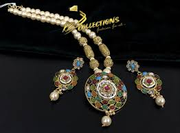 gold plated with semi precious stones with matching mala indian pendant set