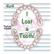 Embroidery Chart I Lost A Tooth Chart Embroidery Design