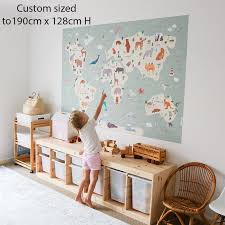 animals world map decal or