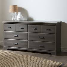 Dresser With Cabinet Bedroom 6 Drawer Double Dresser Wardrobe Cabinet In Grey Maple Finish