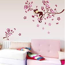 the size for our wall sicker refers to the size of images shown on the wall the effect chart for reference only please carefully to refer to our size  on tree wall art for baby nursery with cute monkey and pink flower blossom tree wall art decor decal baby
