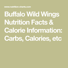 Buffalo Wild Wings Nutrition Facts Calorie Information