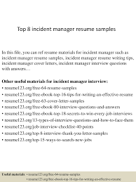 Incident Management Resume Example Top224incidentmanagerresumesamples224conversiongate224thumbnail24jpgcb=1242224677107 3