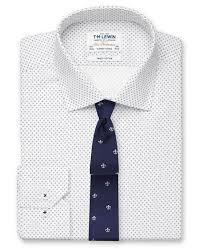 Super Fitted White Navy <b>Diamond Print</b> Shirt - Button Cuff | T.M.Lewin