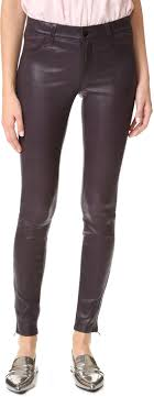 purple leather skinny pants j brand mid rise stretch leather pants