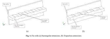 types of extension provided on fin such as a rectangular extensions b tzium extensions c triangular extension and d circular segmental