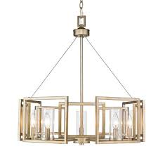 golden lighting marco white gold five light chandelier with clear glass shade