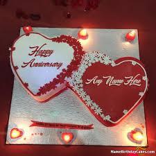 Romantic Happy Anniversary Cake With Name Anniversary Cake With