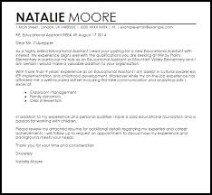 Education Cover Letters Educational Assistant Cover Letter Sample Cover Letter
