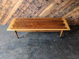 mid century lane acclaim walnut and maple coffee table with dovetail details by thehuntvintagela