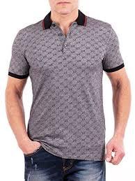 gucci polo. gucci polo shirt, mens gray short sleeve t- shirt gg print all sizes