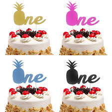 <b>Cake Toppers Flags Glitter</b> Pineapple ONE Kids 1st Birthday ...
