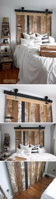 diy reclaimed wood barn door headboard with faux hardware