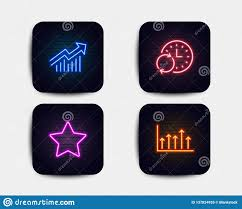 Star Update Time And Demand Curve Icons Growth Chart Sign