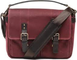 ona prince street waxed canvas leather laptop messenger bag crimson red