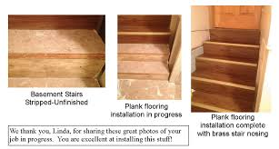 installation of self stick vinyl flooring on stairs