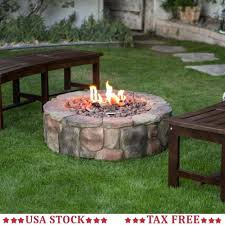 propane fire pits outdoor round camp fire pit propane gas patio rustic faux stone burner propane