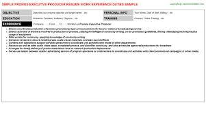 Promos Executive Producer Resume Template
