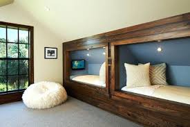 kids bedroom with tv. Fabulous Rustic Kids Gray Accent Wall Features Beige And Beds With Tv Built In Bedroom