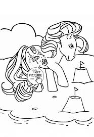 Pony On The Beach Coloring Page