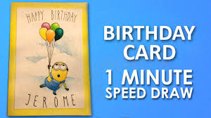How To Draw Minion Birthday Card Step By Step Learning Video Lesson