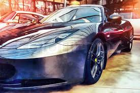 stock image of the works in the style of watercolor painting classic car