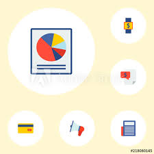 Smart Chart App Set Of Financial Icons Flat Style Symbols With Credit Card
