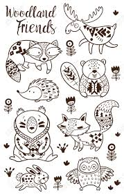 Illustration Of Woodland Animal Coloring Pages