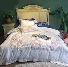luxury embroidered white 120s egyptian cotton royal bedding sets queen king wedding duvet cover bed sheet set pillowcases king duvet full comforter sets