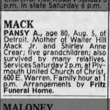 Obituary of Pansy A Mack - Newspapers.com