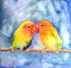lovebird painting lovey dovey lovebirds by arline wagner