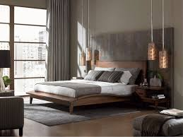 oriental bedroom style with plain wooden headboard on oriental wooden bed frame