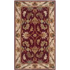 safavieh heritage collection hg628d handmade red and ivory wool area rug 9 feet