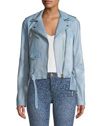 michael michael kors classic leather moto jacket chambray