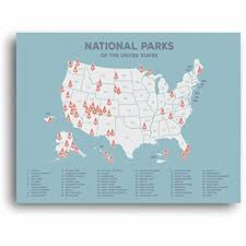 Large Us Map Poster Us National Parks Map Black Usa Map Poster Map Of The
