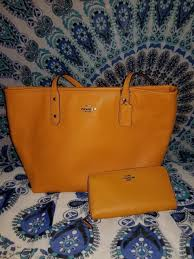 ... where to buy nwt coach leather tote handbag purse tangerine orange with  matching wallet 089df 10de0