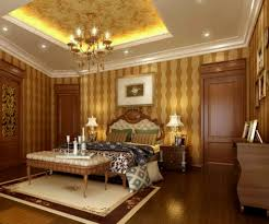 midcentury bedroom idea with depp tray ceiling also gold chandelier also  striped wallpaper