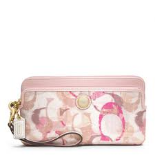 Lyst - Coach Poppy Stamped C Double Zip Wallet in Pink