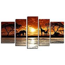 yin art 5 panel split canvas print african sunset landscape with wild animals giraffes on african elephant canvas wall art with amazon yin art 5 panel split canvas print african sunset