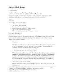 Informal Lab Report Template In Cover Page Title Sample Templates