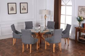 glass dining table with oak legs. oporto round tempered glass top dining table solid oak legs with u