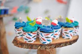 cupcakes from a gone fishing birthday party via kara s party ideas karaspartyideas com